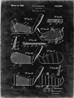 Golf Club Patent - Black Grunge Fine Art Print