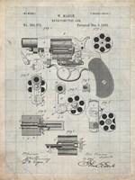 Revolving Fire Arm Patent - Antique Grid Parchment Fine Art Print