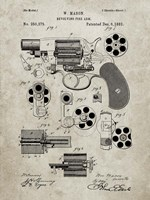 Revolving Fire Arm Patent - Sandstone Fine Art Print