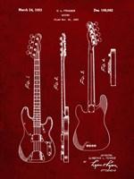 Guitar Patent - Burgundy Fine Art Print
