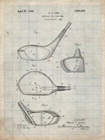 Metallic Golf Club Head Patent - Antique Grid Parchment Fine Art Print