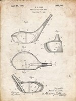 Metallic Golf Club Head Patent - Vintage Parchment Fine Art Print