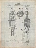 Explosive Missile Patent - Antique Grid Parchment Fine Art Print