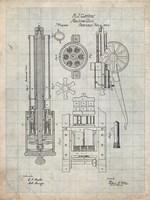 Machine Gun Patent - Antique Grid Parchment Fine Art Print