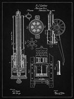 Machine Gun Patent - Vintage Black Fine Art Print