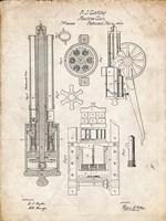 Machine Gun Patent - Vintage Parchment Fine Art Print