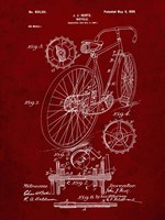 Bicycle Patent - Burgundy Fine Art Print