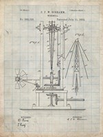 Windmill Patent - Antique Grid Parchment Fine Art Print