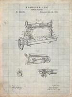 Sewing Machine Patent - Antique Grid Parchment Fine Art Print
