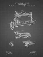 Sewing Machine Patent - Black Grid Fine Art Print