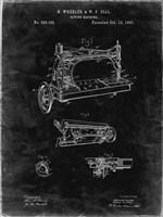 Sewing Machine Patent - Black Grunge Fine Art Print