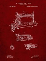 Sewing Machine Patent - Burgundy Fine Art Print