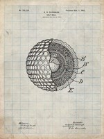 Golf Ball Patent - Antique Grid Parchment Fine Art Print