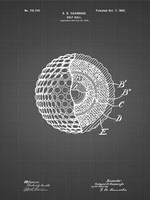 Golf Ball Patent - Black Grid Fine Art Print
