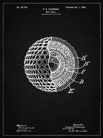Golf Ball Patent - Vintage Black Fine Art Print