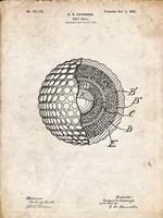Golf Ball Patent - Vintage Parchment Fine Art Print