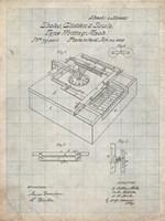 Type Writing Machine Patent - Antique Grid Parchment Fine Art Print