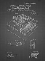 Type Writing Machine Patent - Black Grid Fine Art Print