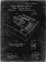 Type Writing Machine Patent - Black Grunge Fine Art Print