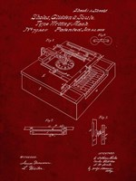Type Writing Machine Patent - Burgundy Fine Art Print