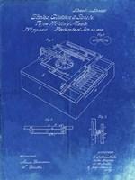 Type Writing Machine Patent - Faded Blueprint Fine Art Print
