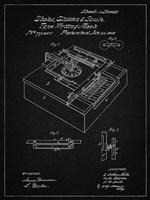 Type Writing Machine Patent - Vintage Black Fine Art Print