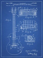 Guitar & Combined Bridge & Tailpiece Therefor Patent - Blueprint Framed Print