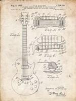 Guitar & Combined Bridge & Tailpiece Therefor Patent - Vintage Parchment Fine Art Print