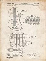 Electric Guitar Patent - Vintage Parchment Fine Art Print
