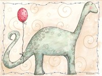 Brachiosaurus and Red Balloon Fine Art Print