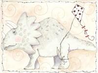 Mr Triceratops Flys a Kite Fine Art Print