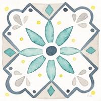 Garden Getaway Tile V White Framed Print