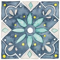 Garden Getaway Tile V Blue Framed Print