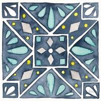 Garden Getaway Tile IX Blue Framed Print