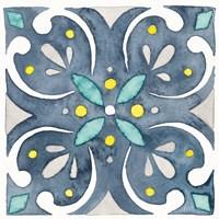 Garden Getaway Tile IV Blue Framed Print