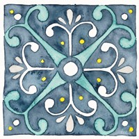 Garden Getaway Tile III Blue Framed Print
