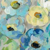 Fresh Teal Flowers II Framed Print