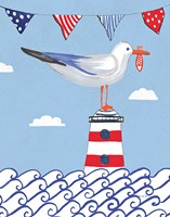 Coastal Bird I Flags on Blue Fine Art Print