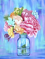 Colorful Flowers in Mason Jar Fine Art Print