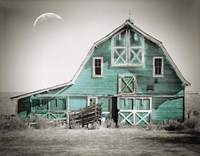 Teal Green Luna Barn Framed Print