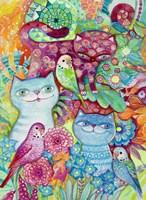 3 Cats + 3 Birds Fine Art Print