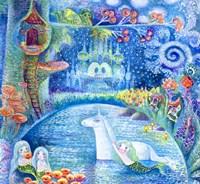 Bathing Of Unicorn Fine Art Print