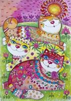 3 Happy Cats Fine Art Print