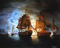 Bonhomme Richard And Serapis Battle Fine Art Print