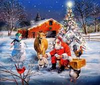 Santa at the Farm Fine Art Print