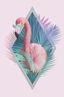 Tropical Leaves & Flamingo Fine Art Print