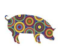 Pig Abstract Circles Fine Art Print