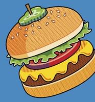 Cheeseburger On Blue Fine Art Print