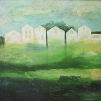 White Houses In Row By Field Fine Art Print