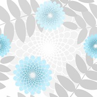 Flowers And Leaves Pattern Baby Blue Fine Art Print